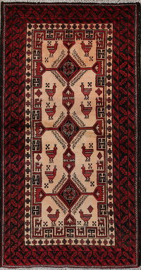 Animal Pictorial Tribal Balouch Oriental Area Rug 3x6