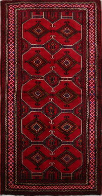 Geometric Red Zanjan Persian Area Rug 4x8