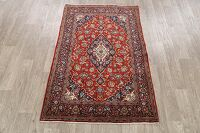 Floral Kashan 100% Vegetable Dye Persian Area Rug 4x6