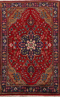 Floral Red Tabriz Persian Area Rug 3x5