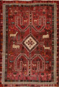 Animal Pictorial Abadeh Persian Area Rug 4x6