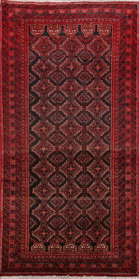 Vintage Geometric Balouch Persian Area Rug 3x6