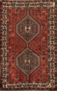 Vintage Geometric Shiraz Persian Area Rug 3x5