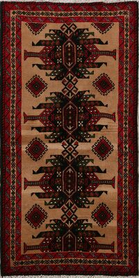 Brown Geometric Balouch Oriental Area Rug 3x6
