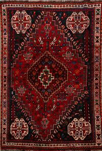 100% Vegetable Dye Vintage Abadeh Persian Area Rug 4x5