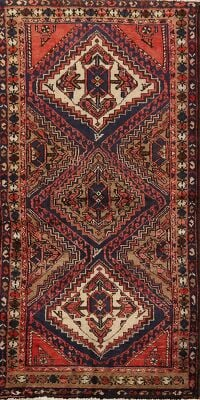 Tribal Geometric Hamedan Persian Area Rug 3x7