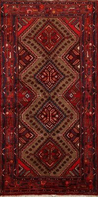 Tribal Geometric Hamedan Persian Runner Rug 3x7
