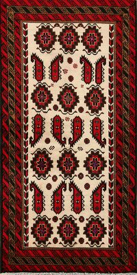 All-Over Geometric Balouch Afghan Area Rug 3x6