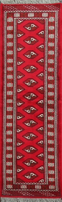 Geometric Red Bokhara Persian Runner Rug 2x7