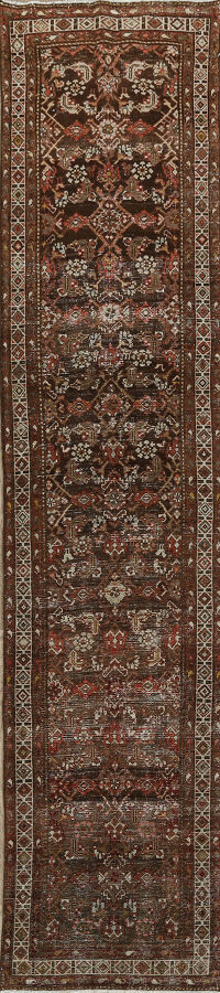 Antique Geometric Malayer Persian Runner Rug 3x12