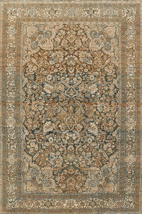 Pre-1900 Antique Floral Bibikabad Persian Area Rug 7x11