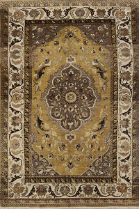 Antique Gold Floral Bakhtiari Persian Area Rug 5x8