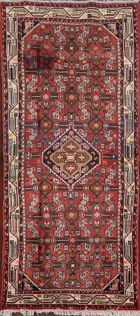 Geometric Red Hamedan Persian Area Rug 3x6