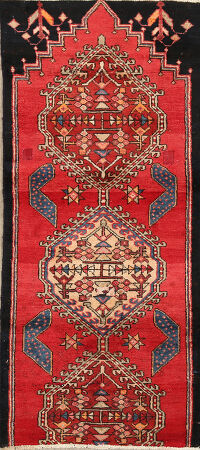 Vintage Geometric Red Ardebil Persian Area Rug 3x5