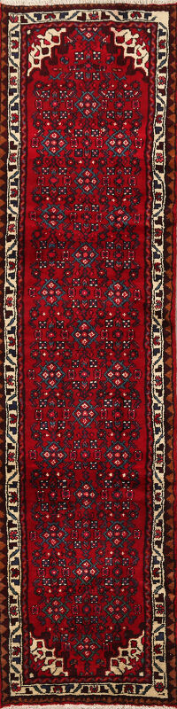 Geometric Red Hossainabad Persian Runner Rug 2x9