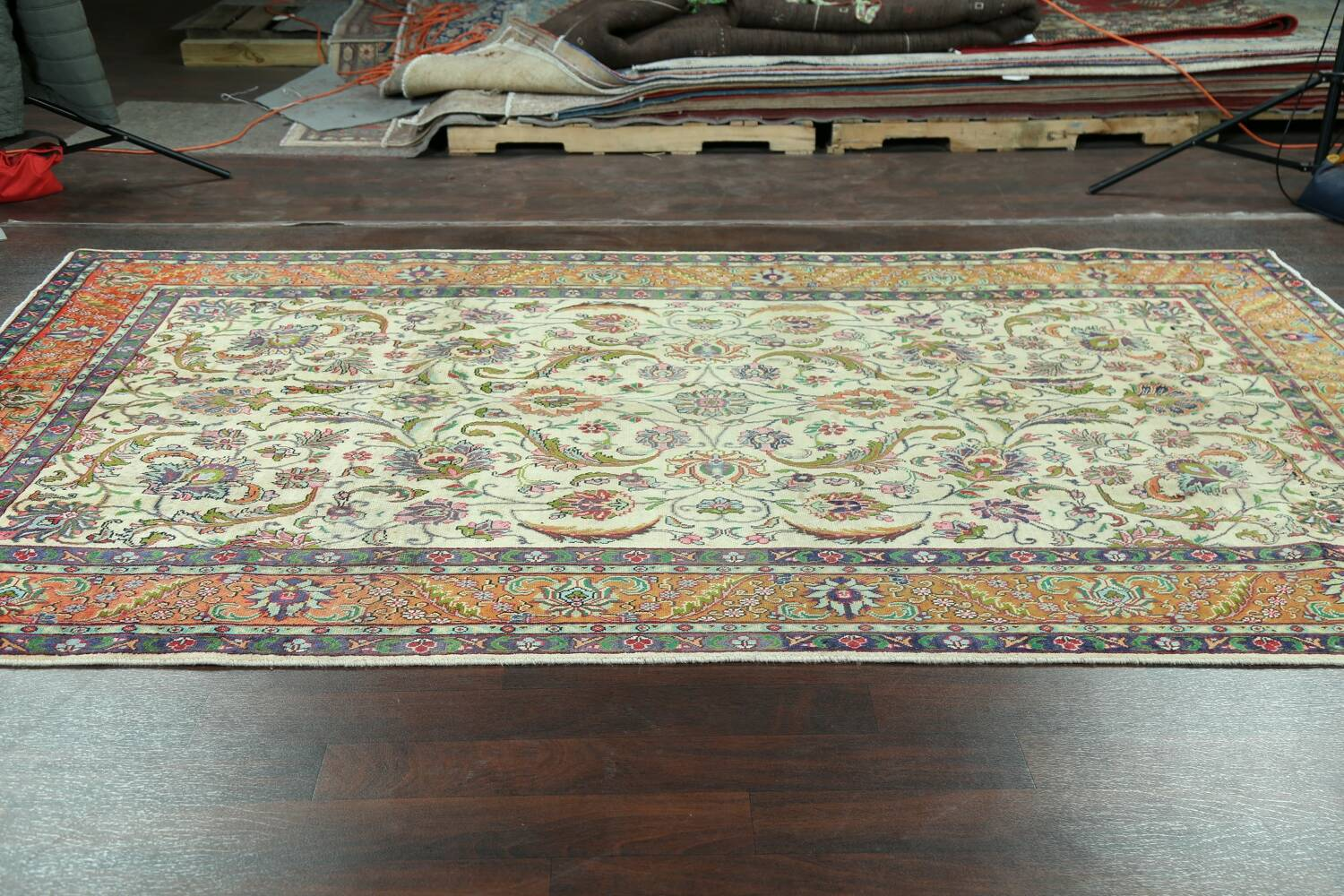 Antique All-Over Floral Tabriz Persian Area Rug 7x11 image 14