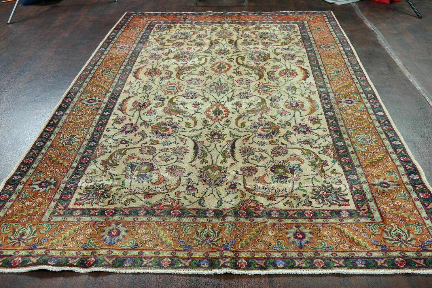 Antique All-Over Floral Tabriz Persian Area Rug 7x11 image 15