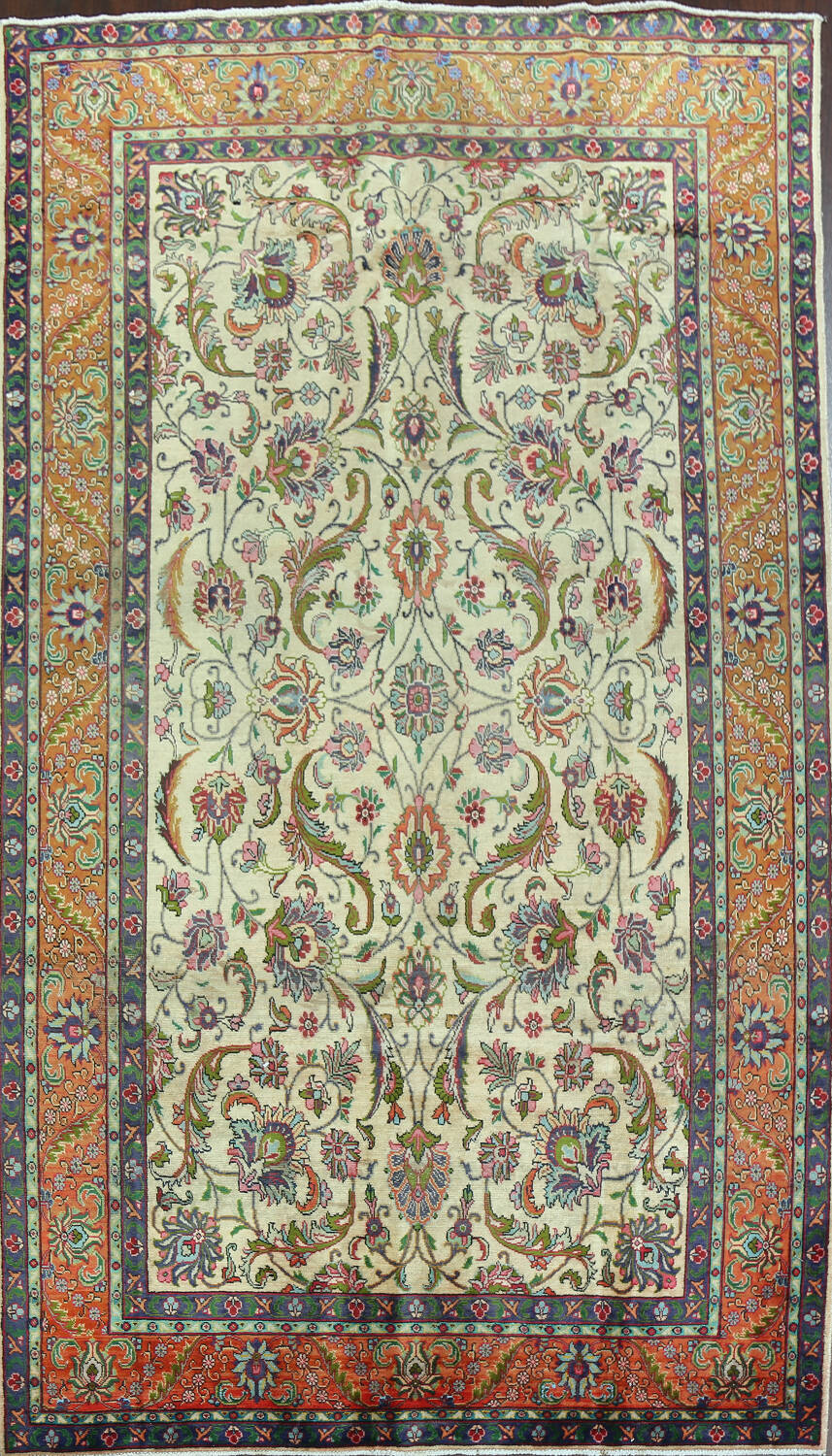 Antique All-Over Floral Tabriz Persian Area Rug 7x11 image 1