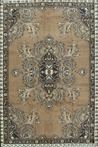 Vintage Brown Ferdos Persian Area Rug 7x10