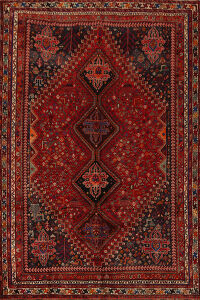 Antique 100% Vegetable Dye Qashqai Persian Area Rug 7x10
