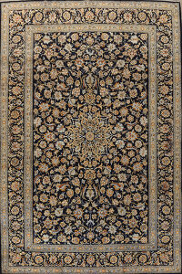 Traditional Floral Navy Blue Kashan Persian Area Rug 10x14