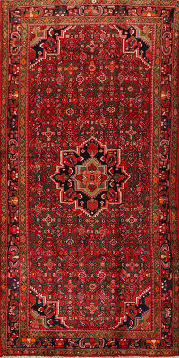 Geometric Red Hossainabad Persian Runner Rug 5x11