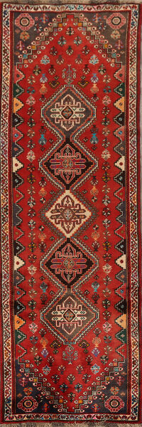 Vintage Tribal Red Abadeh Nafar Persian Runner Rug 3x10