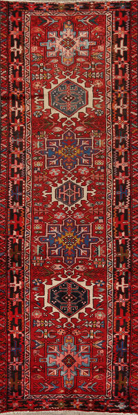 Tribal Geometric Red Gharajeh Persian Runner Rug 3x9