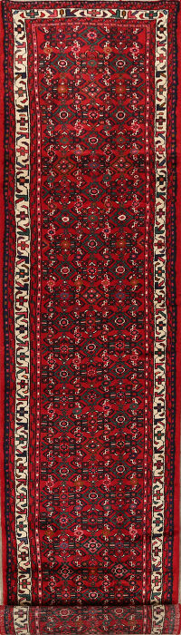All-Over Geometric Hossainabad Persian Runner Rug 3x17