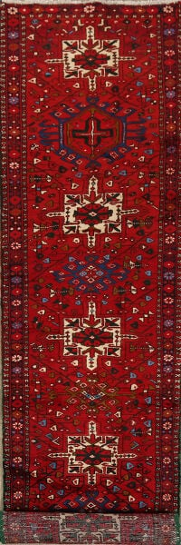 Tribal Geometric Red Gharajeh Persian Runner Rug 3x13