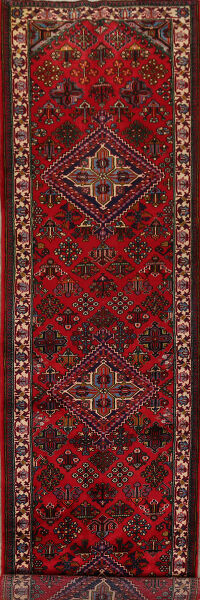 Geometric Red Joshaghan Persian Runner Rug 3x13