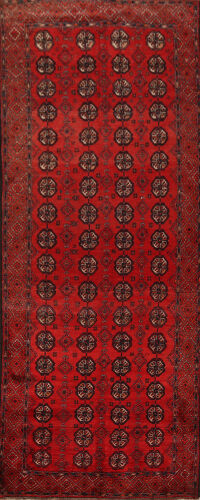 Vintage Geometric Red Balouch Persian Runner Rug 4x8