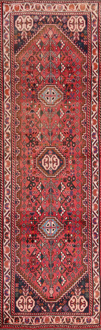 Little Animals Tribal Design Abadeh Persian Runner Rug 3x9