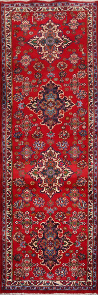 Floral Red Mashad Persian Runner Rug 3x10