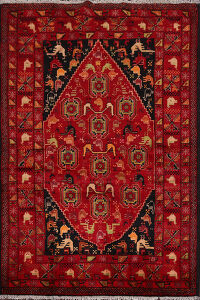 Animal Pictorial Tribal Red Balouch Persian Area Rug 5x8