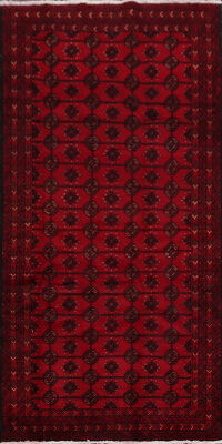 Geometric Red Balouch Persian Runner Rug 4x9