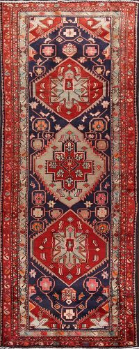 Tribal Geometric Ardebil Persian Runner Rug 4x11