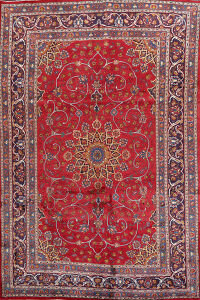 Floral Red Kashmar Persian Area Rug 7x10