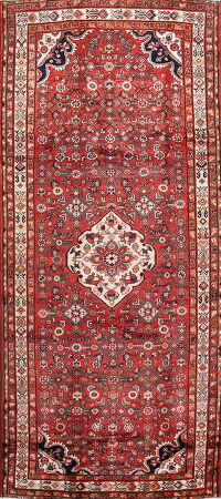 Geometric Red Hamedan Persian Runner Rug 5x11