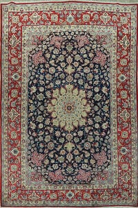 Navy Blue Floral Najafabad Persian Area Rug 10x13