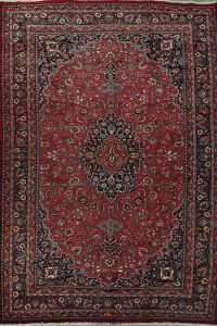 Vintage Floral Red Mashad Persian Rug 10x16 Large