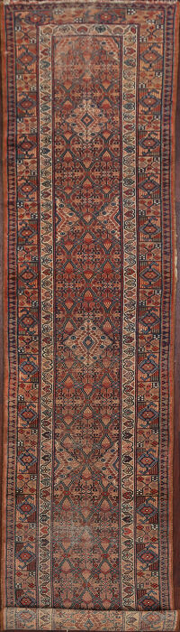 Pre-1900 Antique Vegetable Dye Senneh Persian Runner Rug 2x12