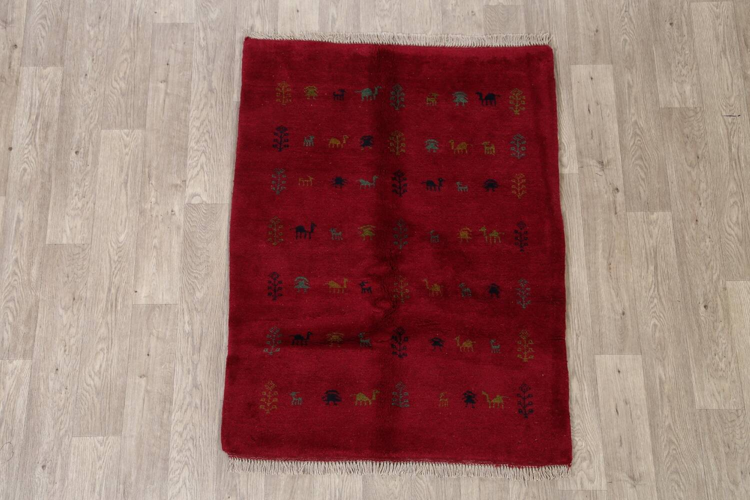 Tribal Red Gabbeh Shiraz Persian Area Rug 4x5 image 2