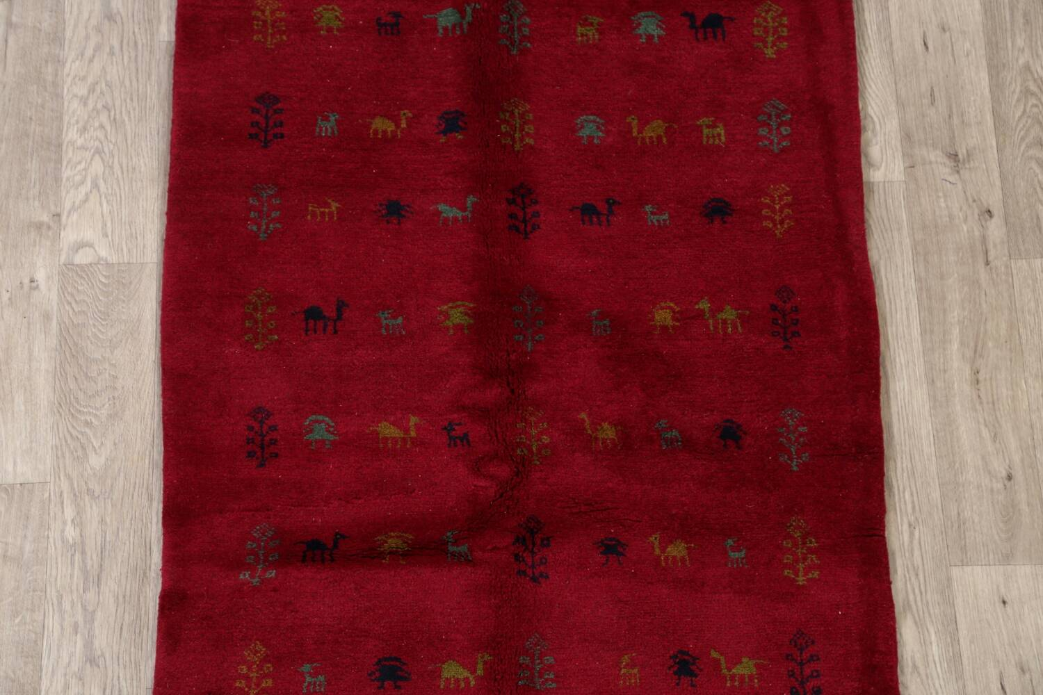 Tribal Red Gabbeh Shiraz Persian Area Rug 4x5 image 3