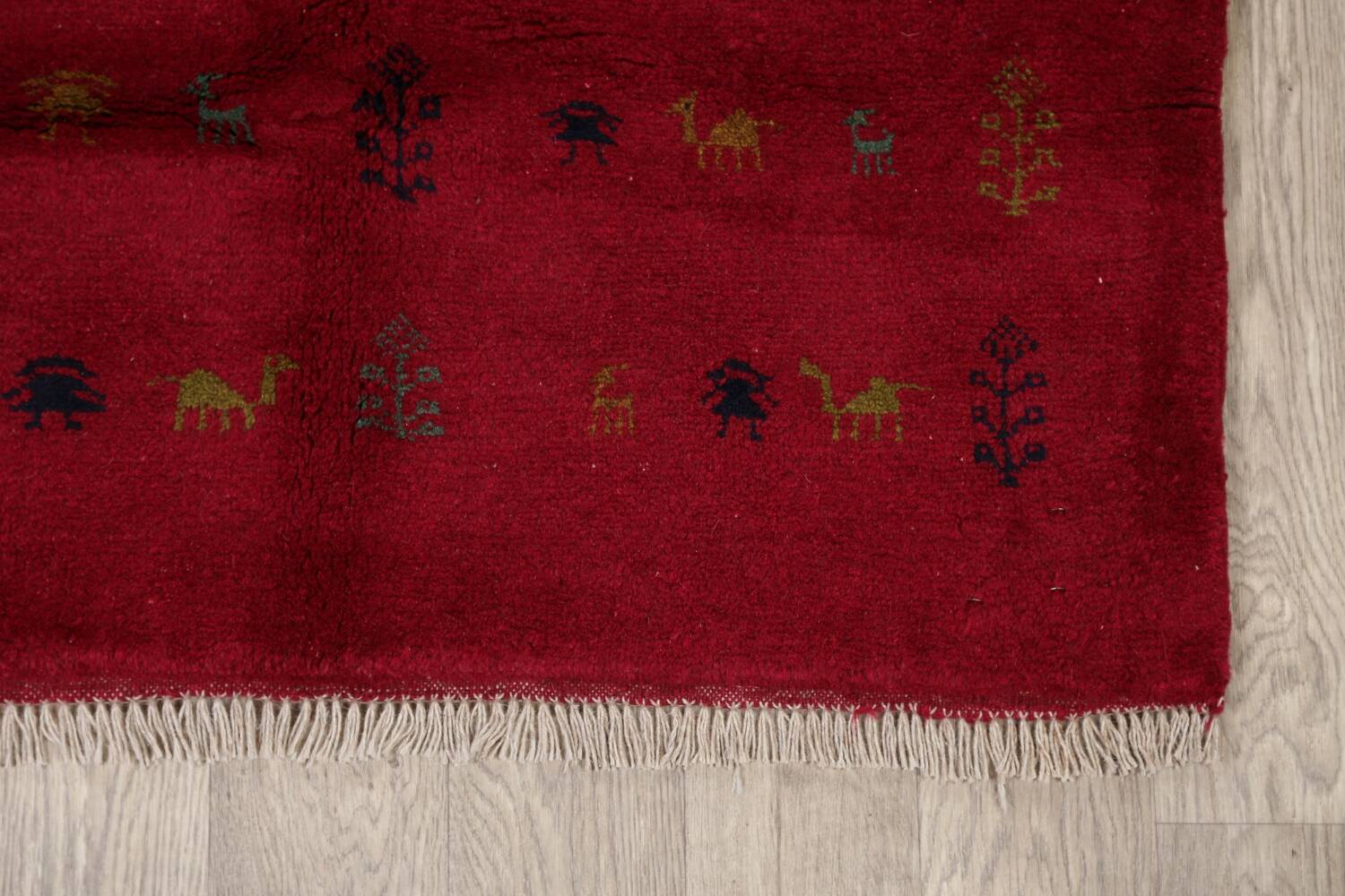 Tribal Red Gabbeh Shiraz Persian Area Rug 4x5 image 5