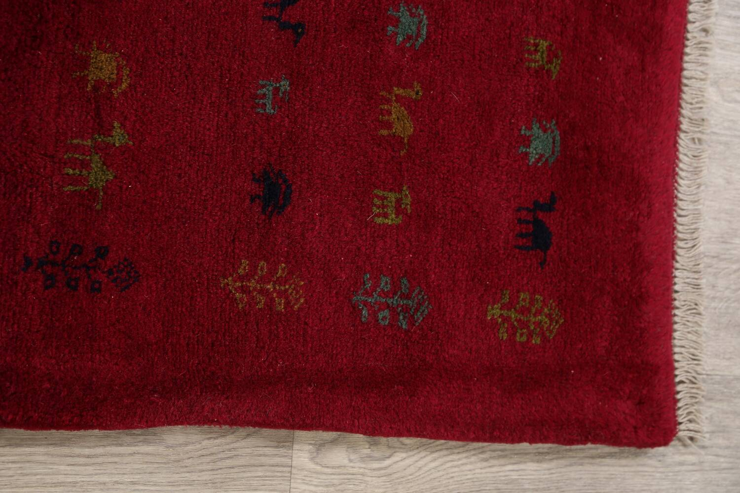 Tribal Red Gabbeh Shiraz Persian Area Rug 4x5 image 10