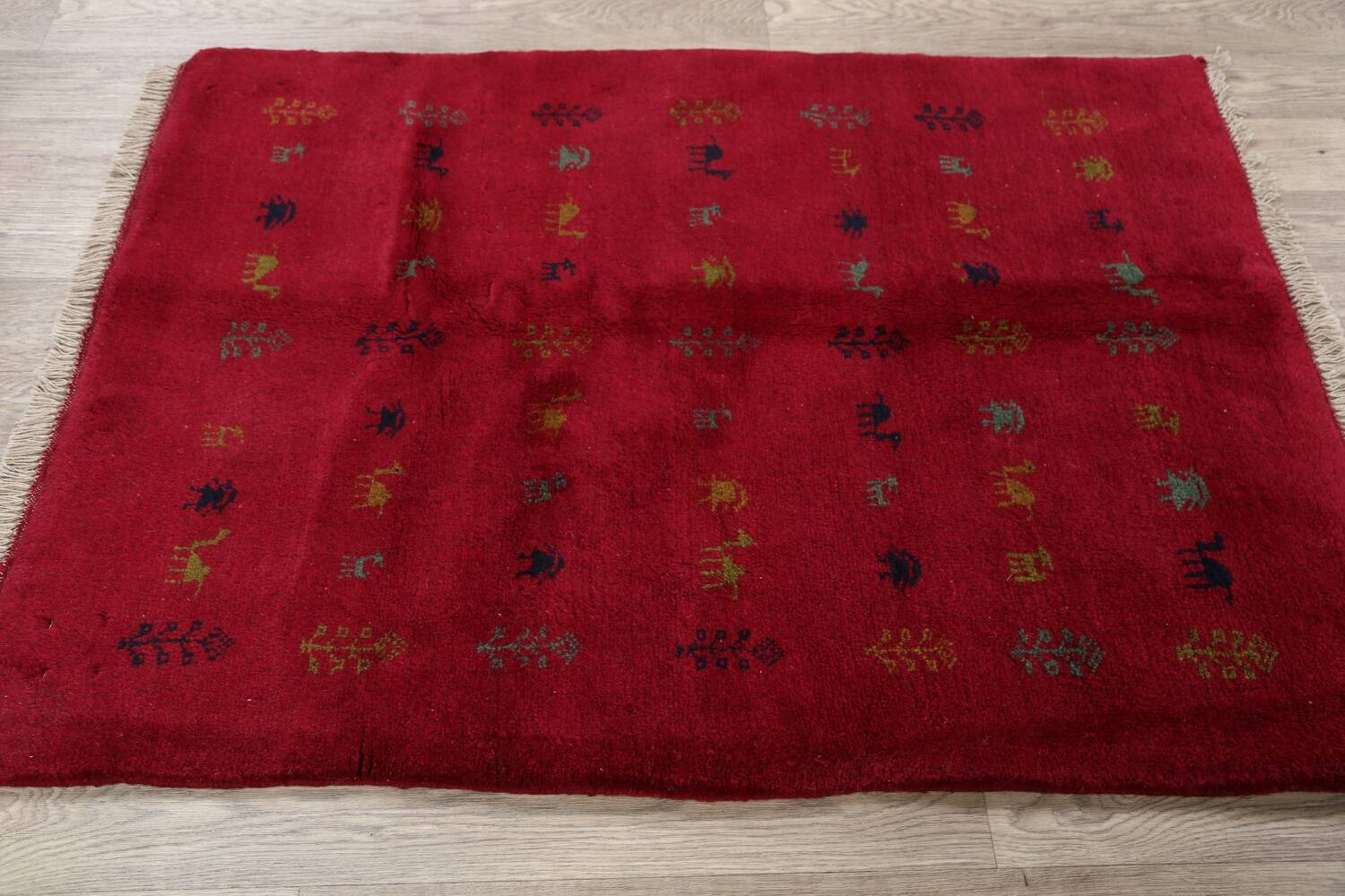 Tribal Red Gabbeh Shiraz Persian Area Rug 4x5 image 11