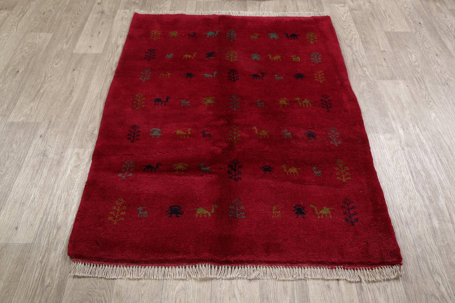 Tribal Red Gabbeh Shiraz Persian Area Rug 4x5 image 12