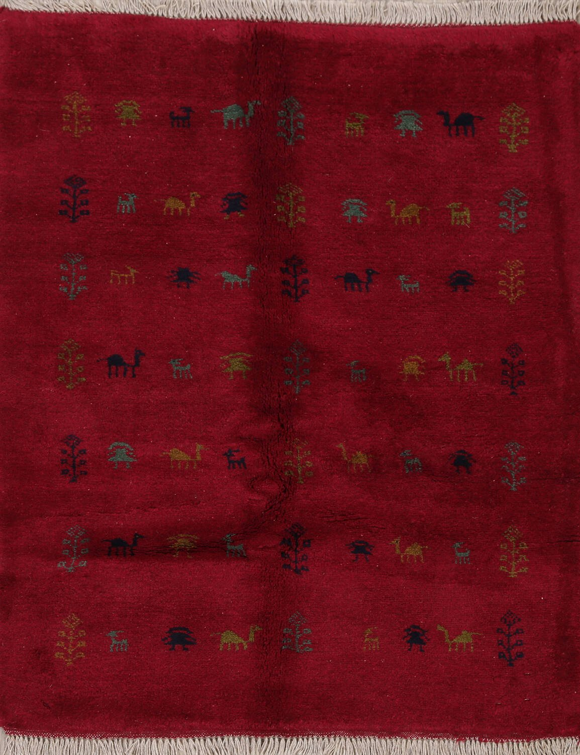 Tribal Red Gabbeh Shiraz Persian Area Rug 4x5 image 1