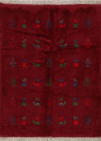 Tribal Red Gabbeh Shiraz Persian Area Rug 4x5
